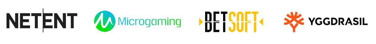 logos des éditeurs de logiciels netent, microgaming, betsoft et yggdrasil