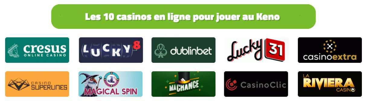 top casinos pour jouer au keno en ligne