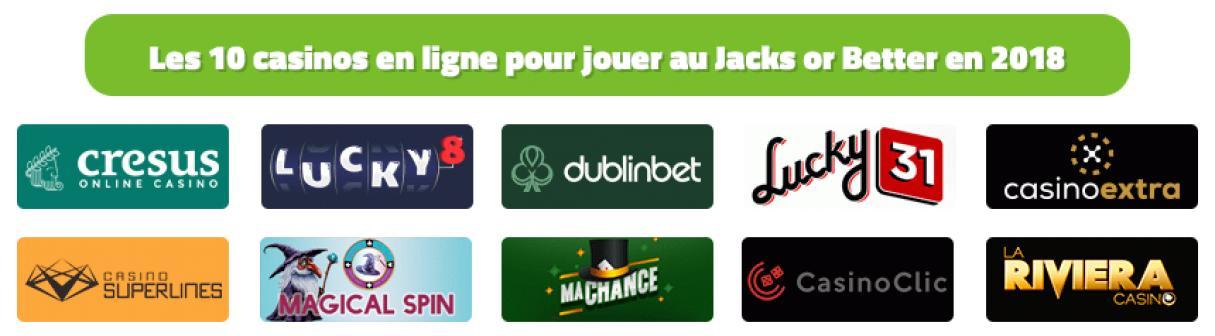 les 10 casinos en ligne pour jouer au jacks or better en 2018