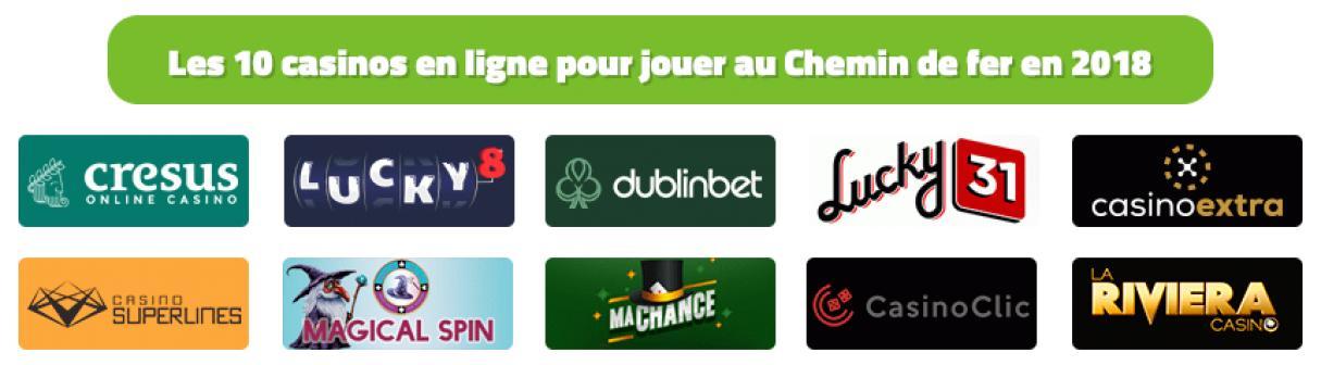 Les 10 meilleurs casinos en ligne pour jouer au Chemin de fer en 2018