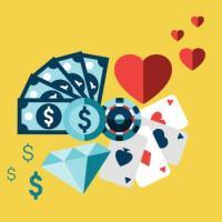 argent coeur jeux jetons