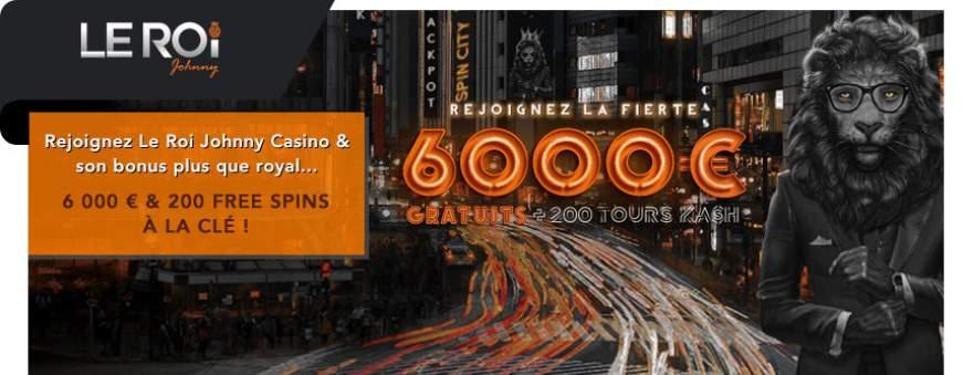 Le Roi Johnny Casino bonus de bienvenue