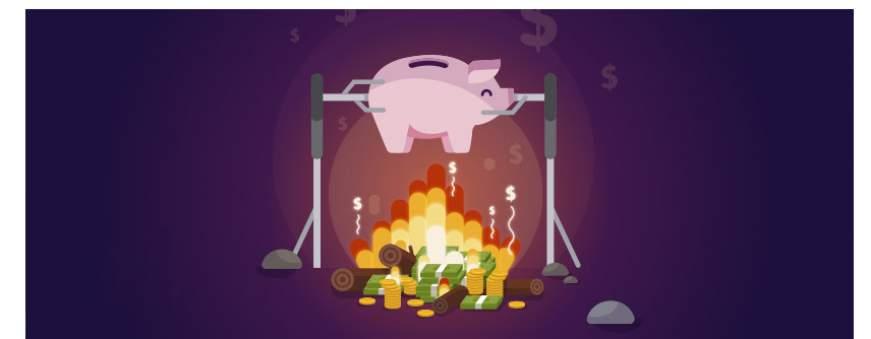 tirelire cochon rose rotie par l'argent